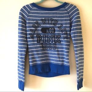 PINK by VS Blue Striped Crew Neck Sweater